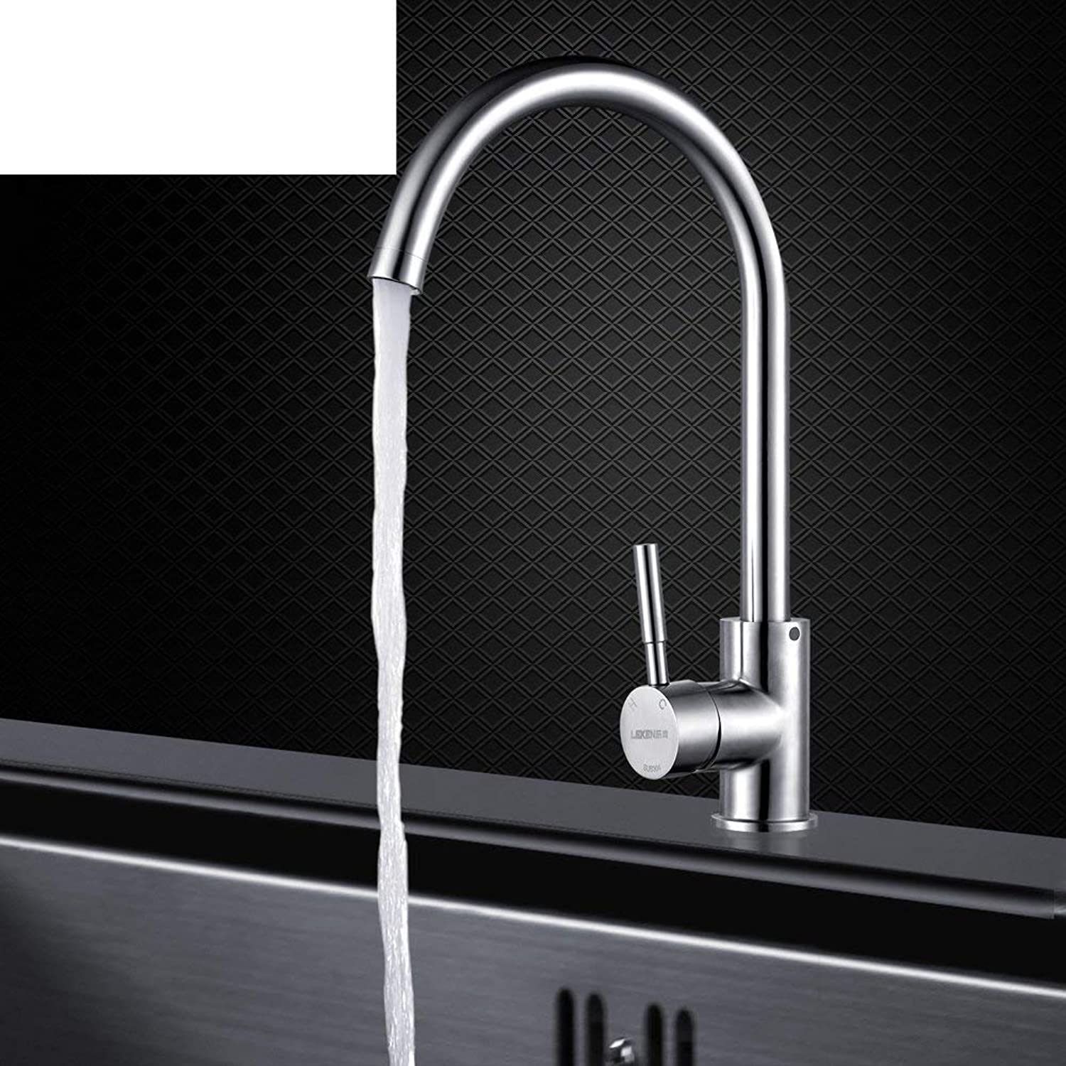FuweiEncore Kitchen faucet Stainless steel kitchen faucet Tap both hot and cold Vegetables basin faucet (color   -, Size   -)