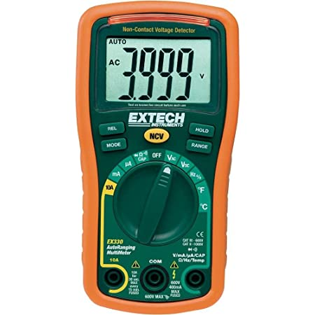 Extech EX330 Autoranging Mini Multimeter with NCV and Type K Temperature, orange and green