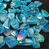 FAMYNGL Cristal Natural Rugoso Rainbow Aura Cuarzo Cristal Coloreado Piedras cayó Titanio Recubierto (Size : Blue)