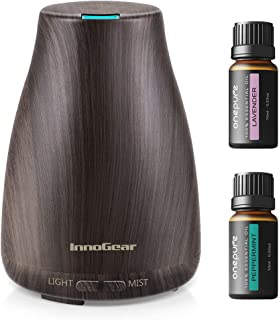 InnoGear Essential Oil Diffuser, 100ml Mini Wood Grain Aroma Diffuser Ultrasonic Humidifier with Essential Oil Gift Set, Lavender + Peppermint (10ml/Bottle), Auto Off Adjustable 7 LED Lights