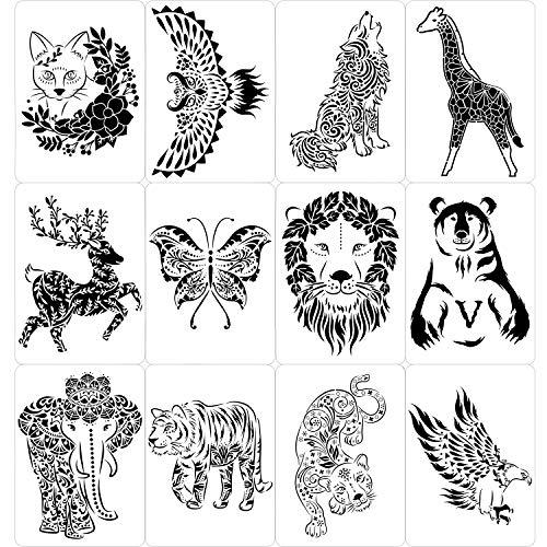 Qpout 12 pcs Animales Plantillas de Pintura para niños Adultos, Mariposa águila Lobo león Ciervo Elefante Grandes Plantillas de Dibujo para Tarjeta de álbum de Recortes Madera Pared Vidrio decoración