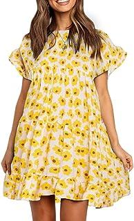 Womens Boho Floral Printed Babydoll Ruffles Casual Loose Short Mini T-Shirt Dress