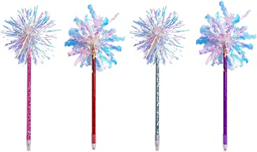 STOBOK 4pcs Shine Ballpoint Colorful Silk Ball Pens Magic Wand Pen for Party Decoration (Mixed Pattern)
