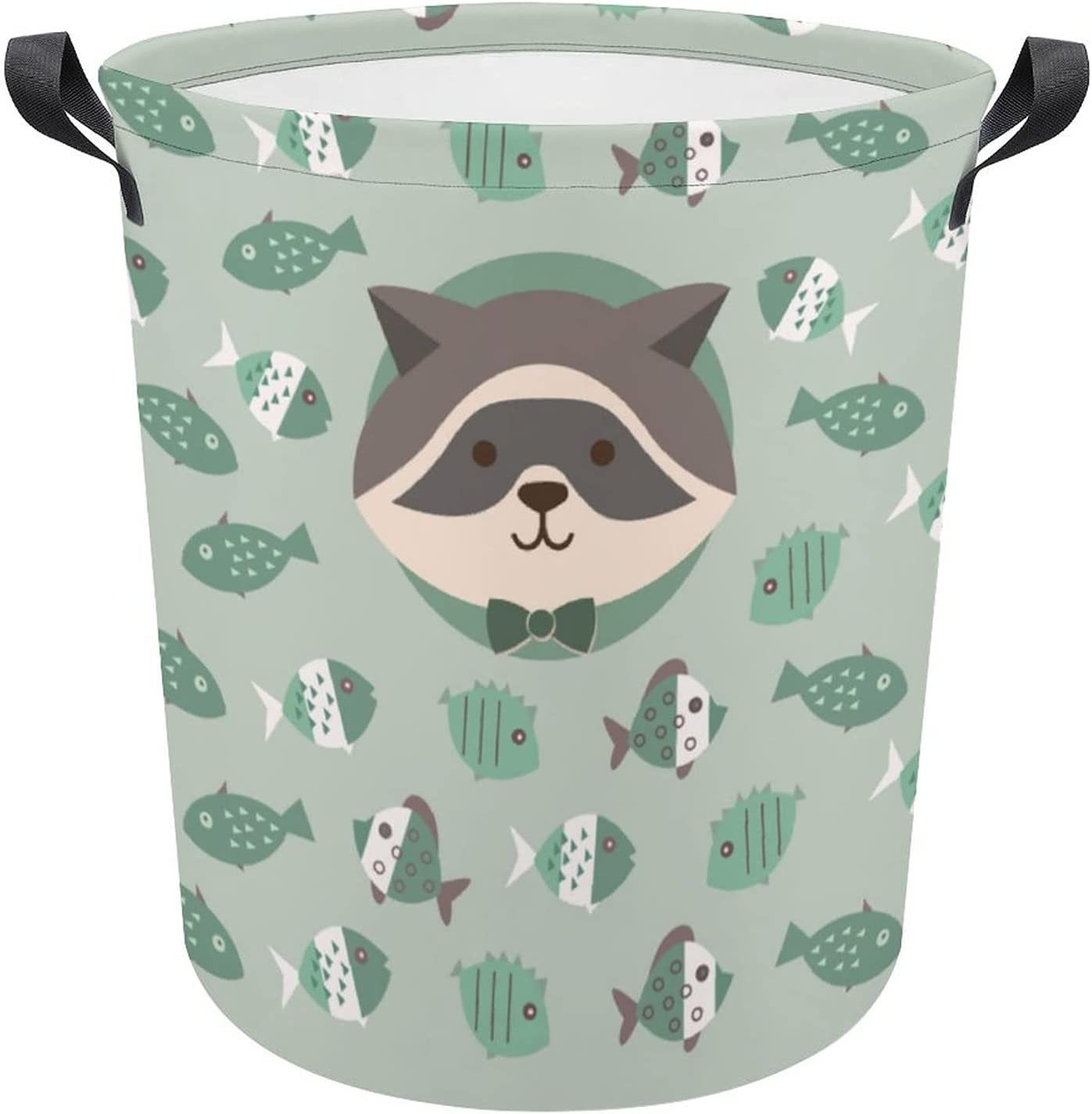 Cute Cartoon Raccoon with Ranking TOP5 Fish Gorgeous on Green Oxfo Laundry Gift Hamper