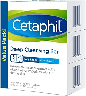 Sponsored Ad - Cetaphil Deep Cleansing Face & Body Bar for All Skin Types, 3 Count
