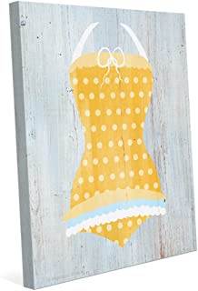 Yellow Polka Dot Bathing Suit Nautical Vintage Distressed Wood-textured Canvas Art Print Wall Décor 8x10