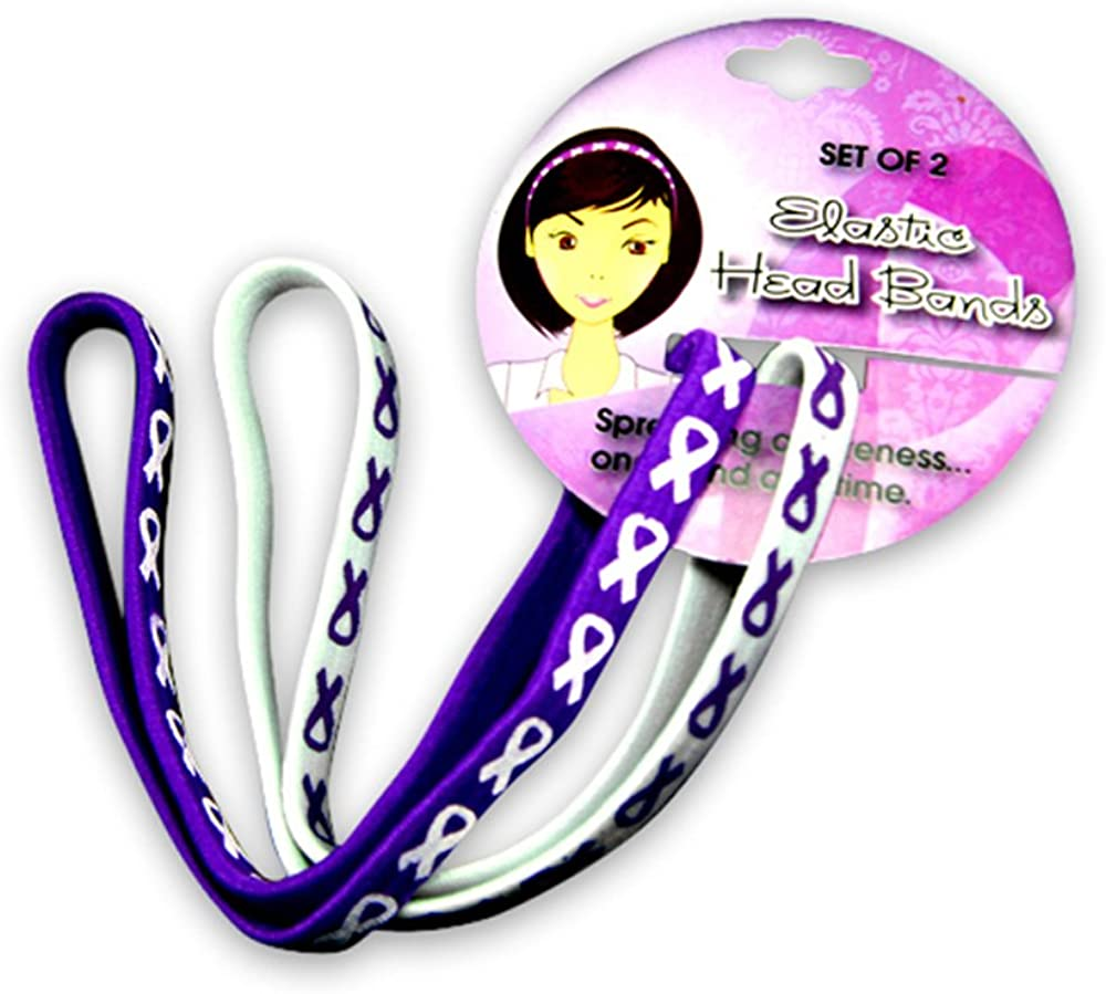 Fundraising For A Cause Purple Ribbon Awareness Stretch Headbands