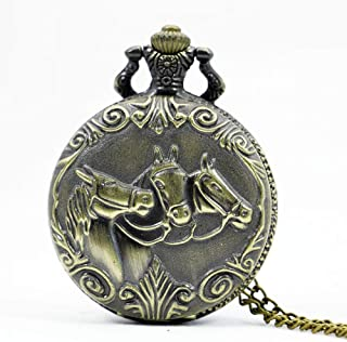 YXZQ Pocket Watch, Zodiac 12 Bronze Two Horse Running Pattern Hollow Quartz Necklace Pendant Womens Men GIfts