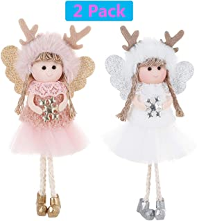 LMXCOL Christmas Tree Hanging Ornaments Christmas Elk Doll Decoration Thanksgiving Day Gifts (Elk Angel)