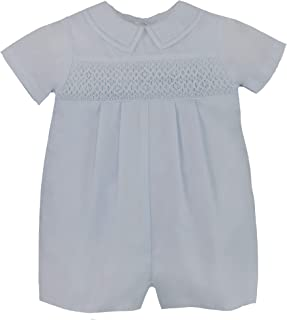 Petit Ami Baby Boys` Romper with Smocking and Faggoting