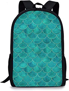 School Backpack, Vimmucir Unisex Classic Lightweight Backpack with Mermaid Scale Printing for Boys Girls High School College Schoolbag, 17 inch - Turquoise