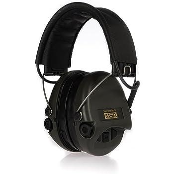 MSA Safety Sordin Supreme Pro X Protection de l'ouïe avec Entrée Auxiliaire, coussinets de gel ultra confortables, cuir noir, capsule verte