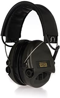 MSA Sordin Supreme Pro X - Premium Edition - Electronic Earmuff with black leather band, green cups and gel seals fitted