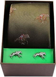 Mens Horse Racing Tie and Cufflink Set - Green