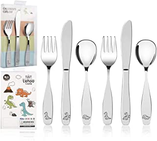 Lehoo Castle Kids Silverware Stainless Steel, 6pcs Toddler Spoons and Forks Knife Set, Safe Children Flatware, Silverware for Toddlers, Toddler Utensils Self Feeding (Little Dino)