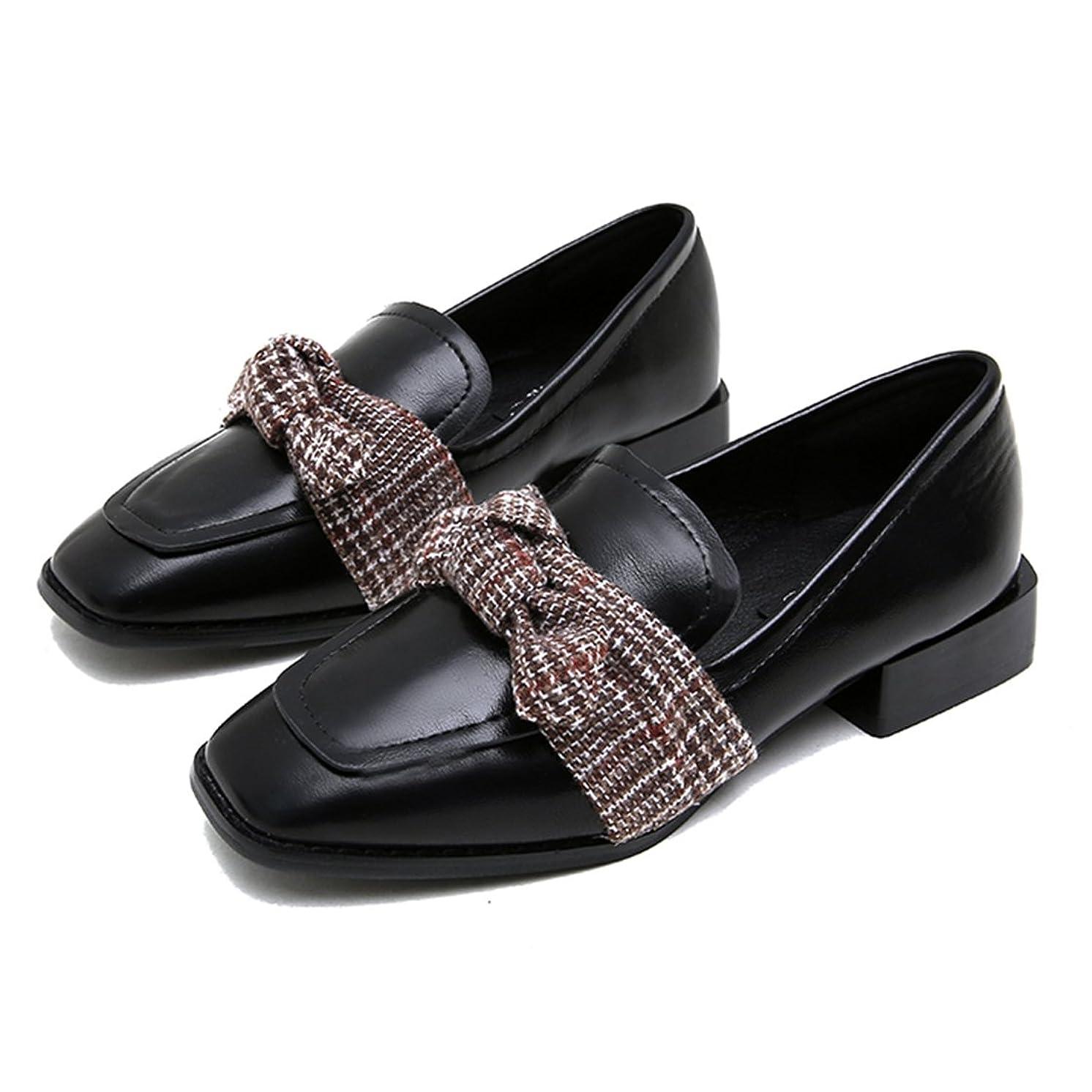 相対的繊維軸[Cnstone] レディース靴 ローファー スクエアトゥ ローヒール ぺたんこ ヒール1.8cm 黒ブラック ダークブラウン マニッシュ おじ靴 可愛い 歩きやすい