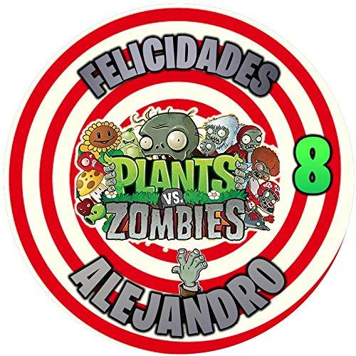 OBLEA de Plantas vs Zombies Personalizada con Nombre y Edad para Pastel...