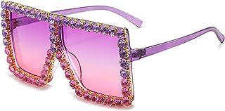 NBJSL Gafas de sol de mujer con diamantes de imitación con montura grande, gafas de sol protectoras Uv de moda, embalaje de regalo exquisito