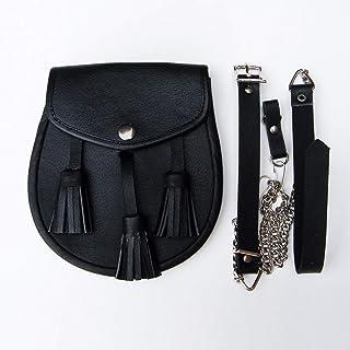 Black Leather Sporran with Tassles