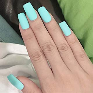 Adflyco Matte False Nail Pure Color Mint Green Nail Frosted Long Square Nails Full Cover Press on Nail Tips for Women and Girls(24Pcs)