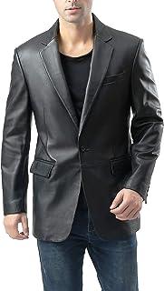 BGSD Men's Nicholas 1-Button Leather Blazer Lambskin Sport Coat Jacket (Regular, Big & Tall and Short)