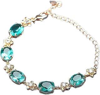 yigedan Emerald Green for Women S925 Silver Bracelets with Round Oval Zircon Birthstone