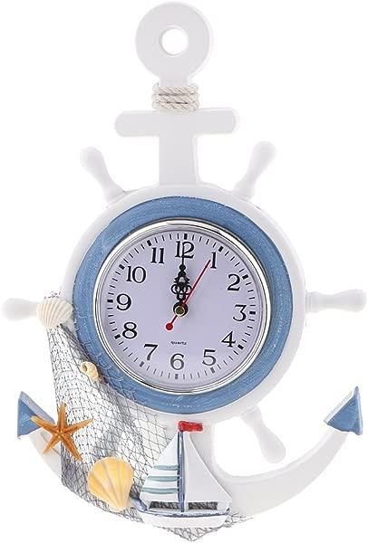 MagiDeal Wall Clock Ship Wheel Anchor Design Nautical Beach Seaside Themed 33cm E