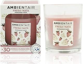 Ambientair. Vela aromática Fresa y Nata. Vela perfumada con cera vegetal y perfume natural con una duración estimada de 30...