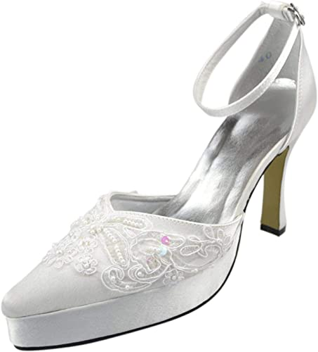 ZHRUI Filles Femmes Bout Pointu Plateforme Plateforme Cheville Satin Robe De Mariée Robe De Mariée Chaussures (Couleuré   blanc-12cm Heel, Taille   8 UK)  prix bas discount