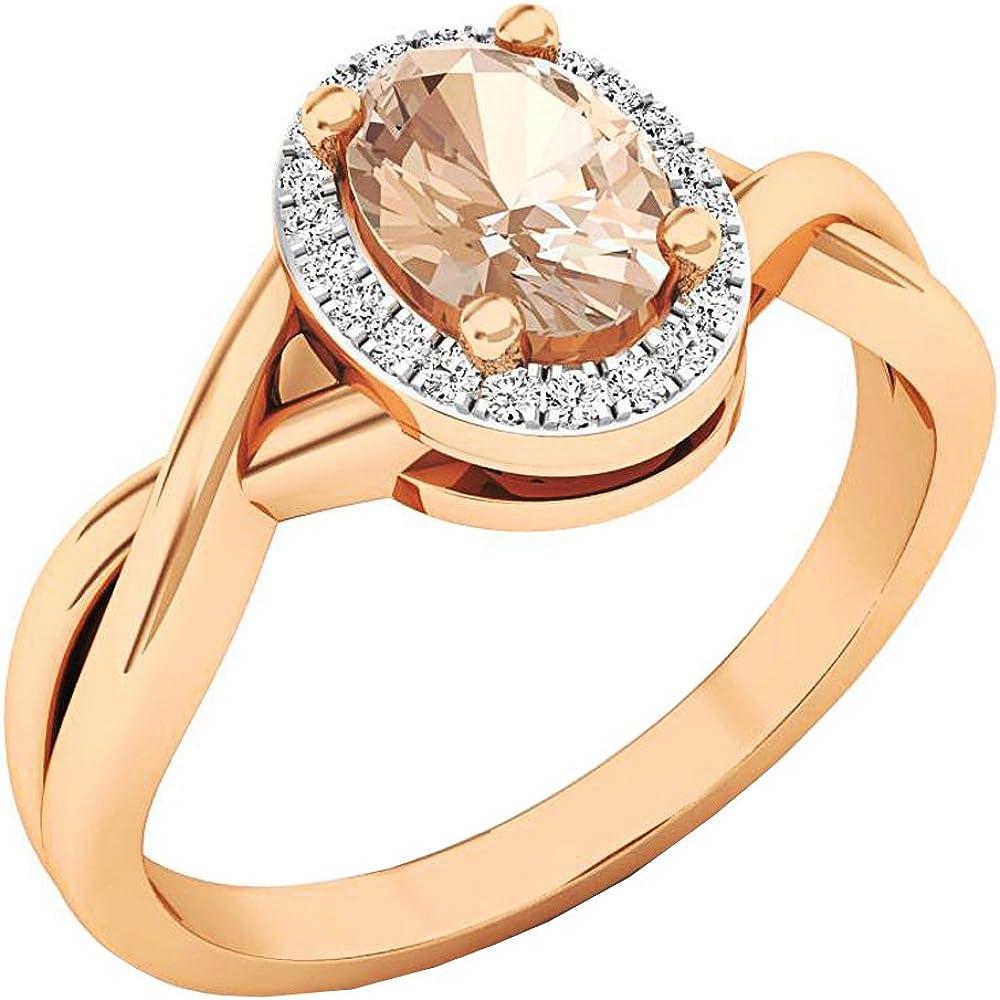 Dazzlingrock Collection 18K 7X5 MM Oval Morganite & Round Diamond Ladies Bridal Halo Engagement Ring, Rose Gold