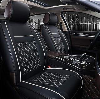 1er Universelle Leder Einzelsitzbezug universal Sitzbezüge für Auto Vordersitze Schonbezug Jahreszeiten Wasserdicht Weich Sitzkissen (Schwarz und weiß)