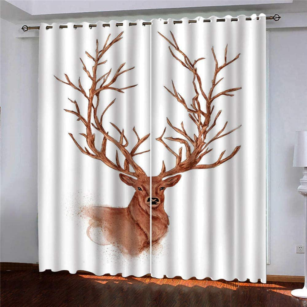 2 Panels Blackout Curtains Ther Antlers Popular overseas Charlotte Mall Eyelet