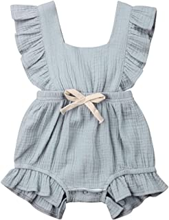 Infant Newborn Baby Girl Romper Bodysuit Ruffle Bowknot One-Piece Jumpsuit Outfit Clothes Summer 0-24M