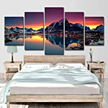 HPPTON Five-frame 50CM with frame living room kitchen bedroom Norway Lofoten Islands scenery home decoration painting-8 x 14/18/22inch,With frame