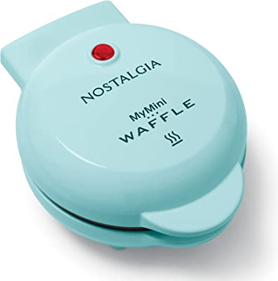 Nostalgia MWF5AQ MyMini Personal Electric Waffle Maker Perfect for Healthy Chaffles, Almond Flour Keto and Low-Carb Diets, Hash Browns, French Toast Grilled Cheese, Quesadilla, Brownies, Cookies, Aqua