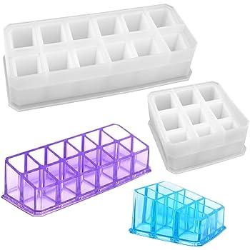 YZNlife moldes de Resina para fundir, Cajas de joyería, moldes con 12 Ranuras de Resina epoxi, moldes de corazón, moldes Cuadrados de Silicona para Hacer Caja de Resina: Amazon.es: Hogar