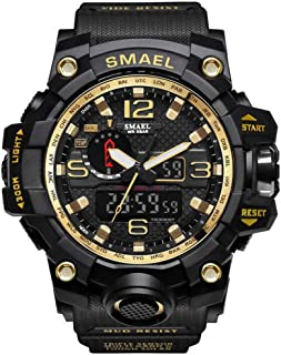 SMAEL Boy's Military Watch, Big Face Sports Watch Army Style Multifunctional Wrist Watch for Youth - gold