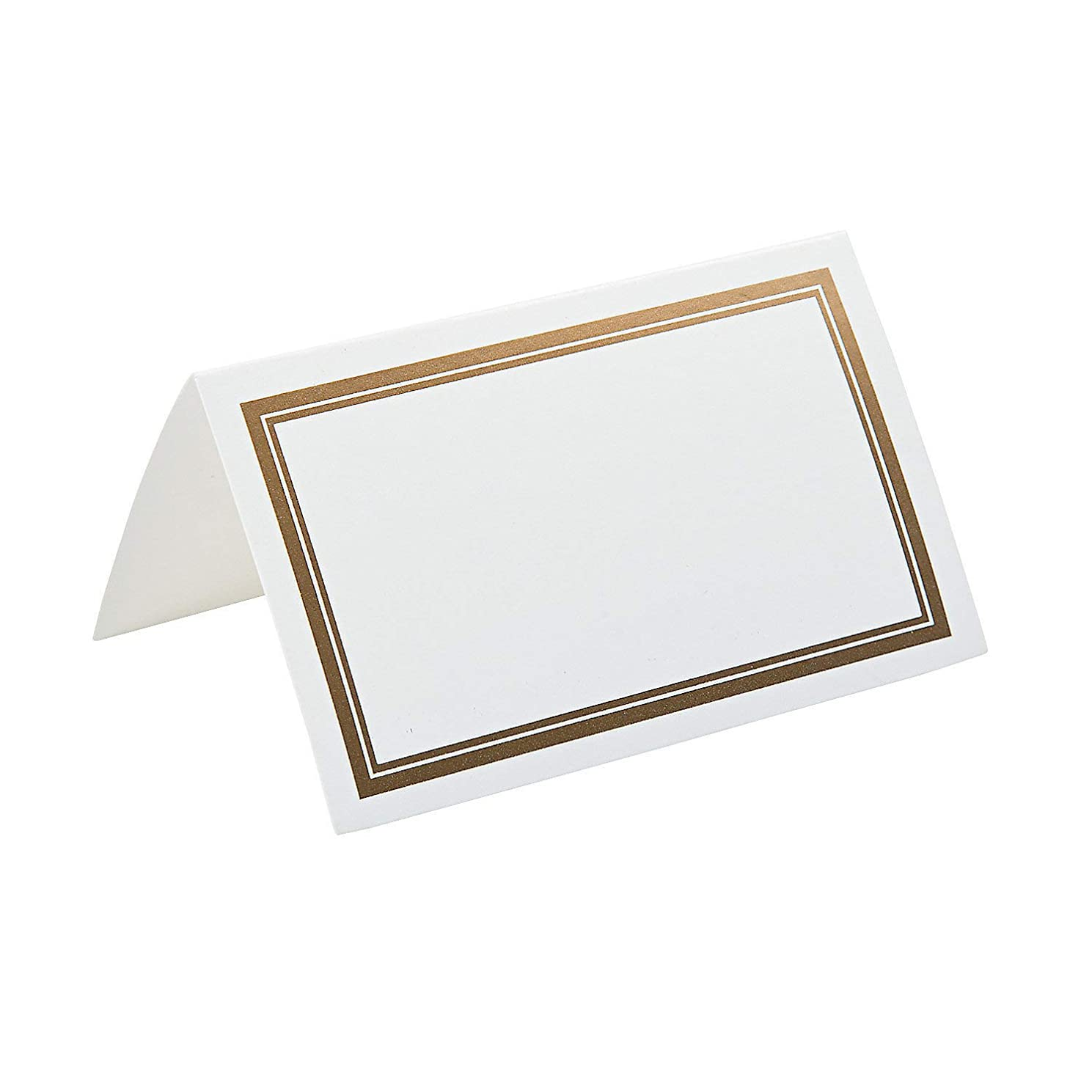 Fun Express Gold Rimmed Place Cards for Wedding - Party Supplies - Favors - Placecards and Holders - Wedding - 50 Pieces