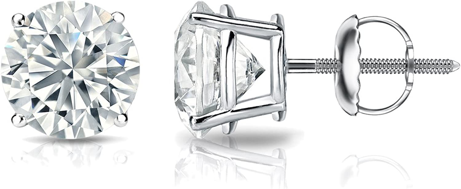 GIA Certified 18k White Gold Max 57% OFF 4-Prong Stud Earrings Round Ranking TOP7 Diamond
