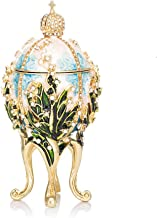 QIFU-Hand Painted Enameled Faberge Egg Style Decorative Hinged Jewelry Trinket Box Unique Gift Home Decor