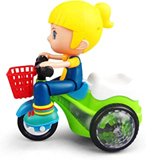 Dušial Stunt Car Electric Tricycle Toys LED Music Light Effect Robot Bike 360 Degree Rotation Walking Toy for Boy Girl Kids Party Sorting, Stacking & Plugging Toys