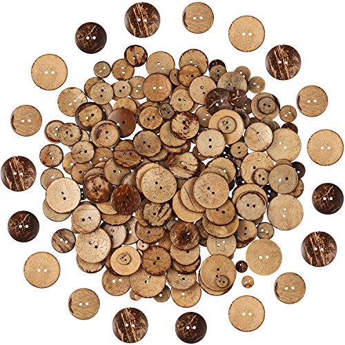 200 Stücke Natürliche Kokosnus Schale Knöpfe Sortiert 2 Löcher Angenäht Basteln Knöpfe Runde Braune Knöpfe für DIY Nähen Bastel Bedarf, 5 Größen