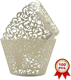 SUYEPER 100pcs Cupcake Wrappers Artistic Bake Cake Paper Cups Little Vine Lace Laser Cut Liner Baking Cup Muffin Case Trays for Wedding Party Birthday Decoration (Beige)