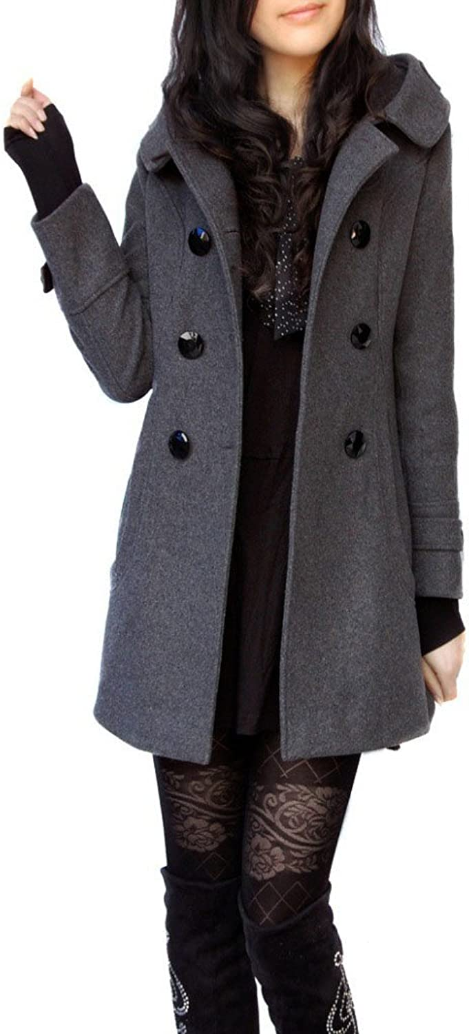 Allonly Women's Woolen Hooded Slim Fit DoubleBreasted Thicken Jacket Coat