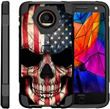 TurtleArmor | Compatible with Motorola Moto Z Droid Case | Moto Z Droid Edition [Dynamic Shell] Hybrid Dual Layer Hard Shell Kickstand Silicone Case - US Flag Skull