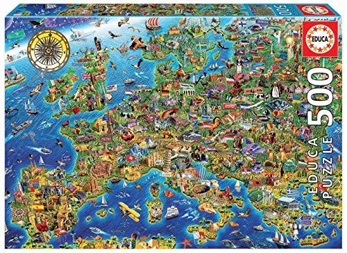 Educa Borras - Genuine Puzzles, Puzzle 500 piezas, Mapa de Europa (17962)