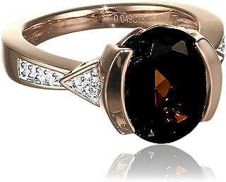 钻石 BY Ellen K. 女式戒指375红色金 partly 镀铑带圆形切割钻石石英棕色(0.04克拉尺码50( 15.9)–316370010–2