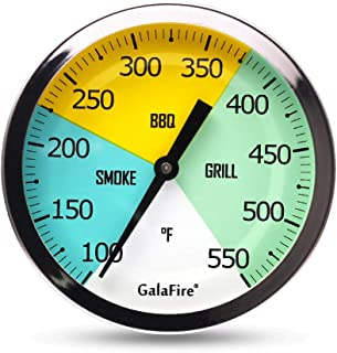 GALAFIRE 3 3/16'' Grill Thermometer for Gas Smoker Charcoal Pit, Big BBQ Temperature Gauge
