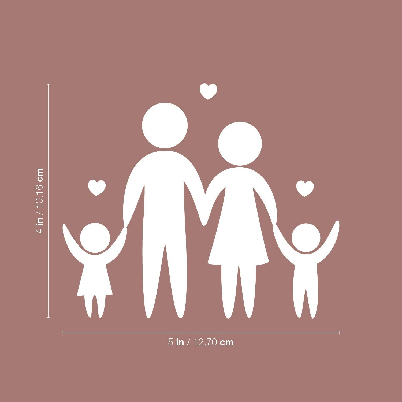 White Vinyl Wall Art Decal Inspirational Modern Cute Four Little Family Shape Sticker for Playroom Daycare Closet Mirror Family Cars Minivan Rear Window Car Bumper Decor Little Family 4 x 5