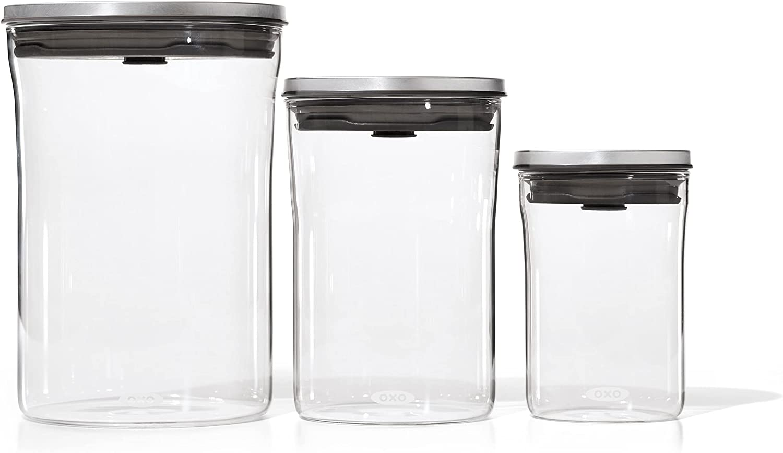 OXO 3 Piece Food Storage POP Glass Container Set - 0.6, 1.5, and 3.3 Quart